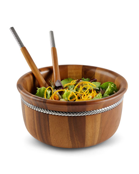 Round Salad Bowl with Servers