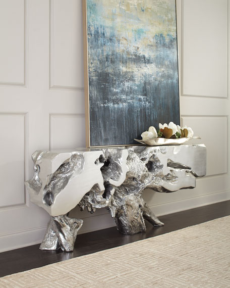 Freeform Silver Leaf Console Table