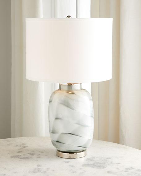Gray Swirl Glass Table Lamp