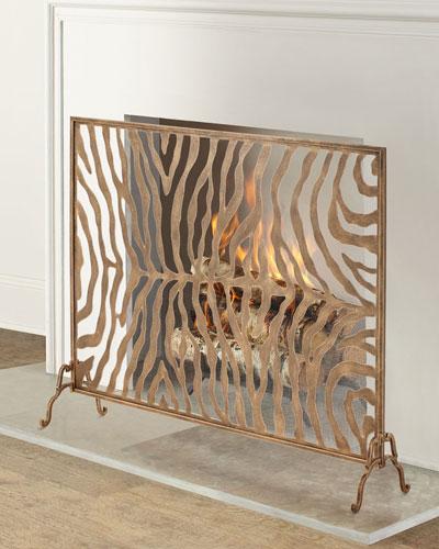 Oversized Gold Iron Tole Zebra Design Fireplace Screen