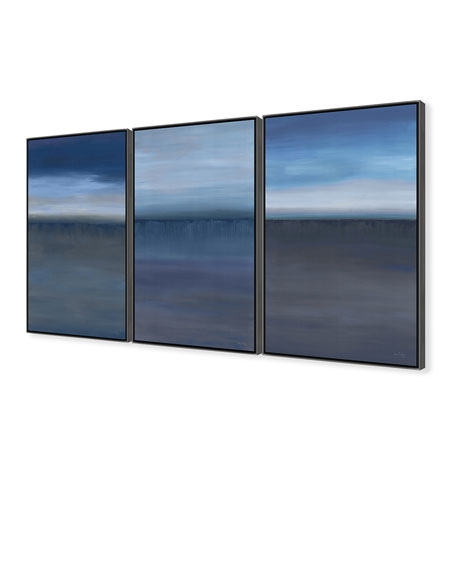 Blue Horizons Giclee On Canvas Wall Art With Frame, Set of 3
