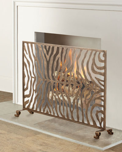 Light Burnished Gold Iron Zebra Design Fireplace Screen