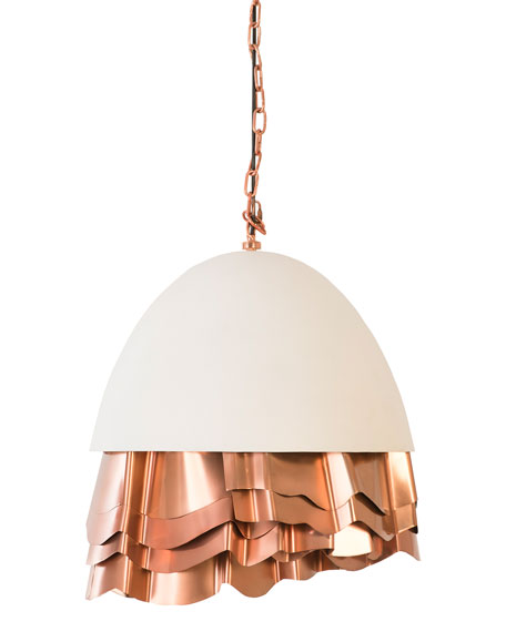 Ruffle Chandelier, White/Copper