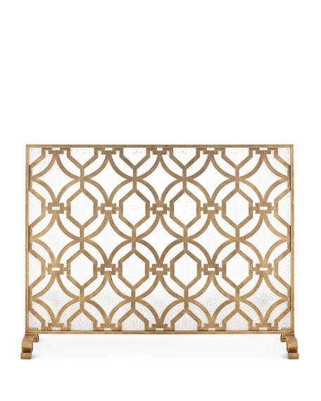 Geometric Design Single Panel Fireplace Screen