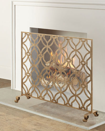 Geometric Design Single Panel Fireplace Screen