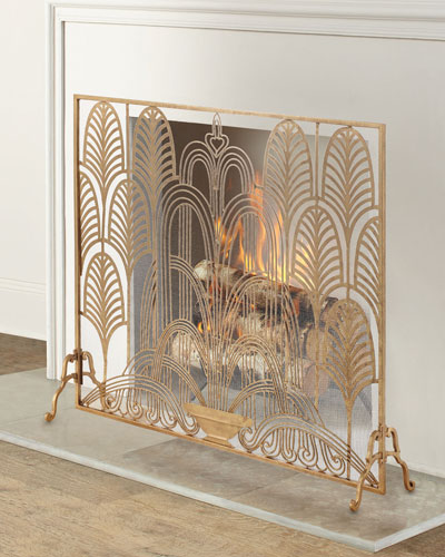 Classic Art Deco Single Panel Fireplace Screen