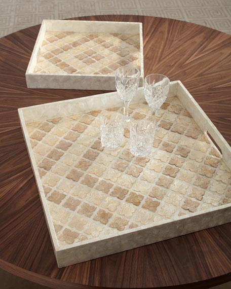 Capiz Tile Trays, Set of 2