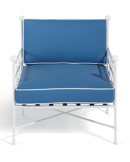 Avery Lounge Chair, White/Blue