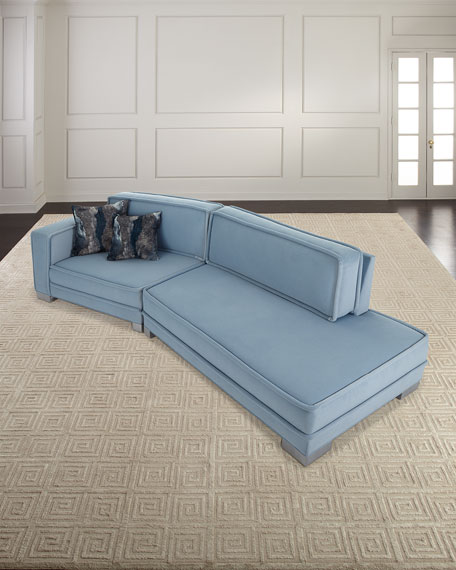 Drew Velvet Two-Piece Sectional