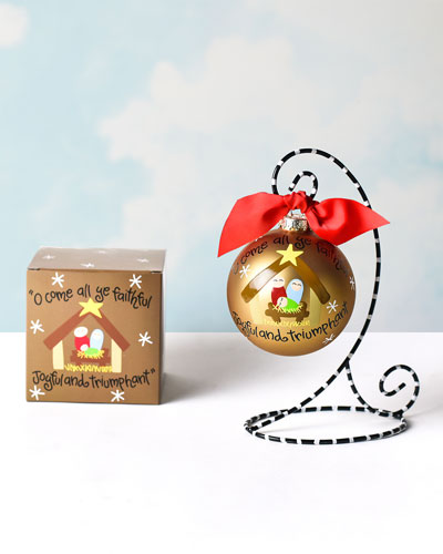 O Come All Ye Faithful Glass Ornament with Stand