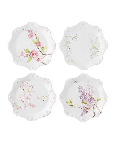 Berry & Thread Floral Sketch Dessert Plates  Set of 4
