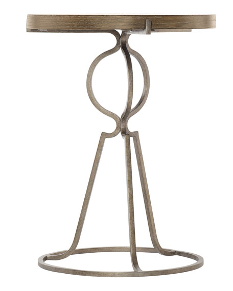 Rustic Patina Iron-Base Round End Table