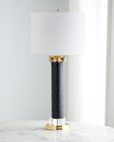 Stone Gold & Black Glass Lamp