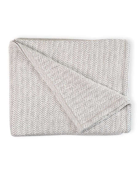 Chebeague Tonal Herringbone Throw Blanket