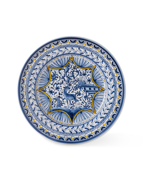 Pavoes Blue and Yellow Dinner Plates, Set of 4