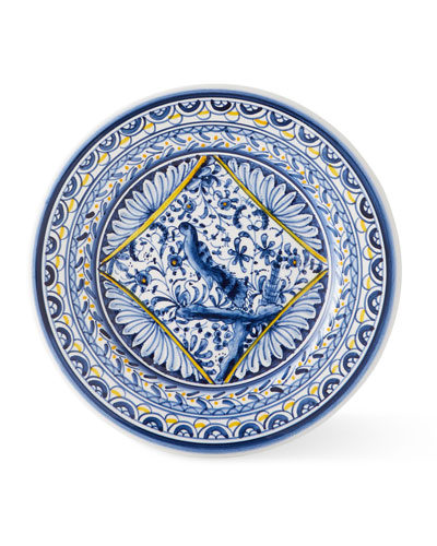 Pavoes Blue and Yellow Salad Plates  Set of 4