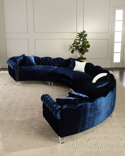 Aime 4-Piece Crushed Velvet Sectional
