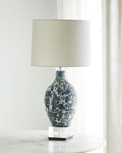 Webs of Charcoal & White Glass Table Lamp