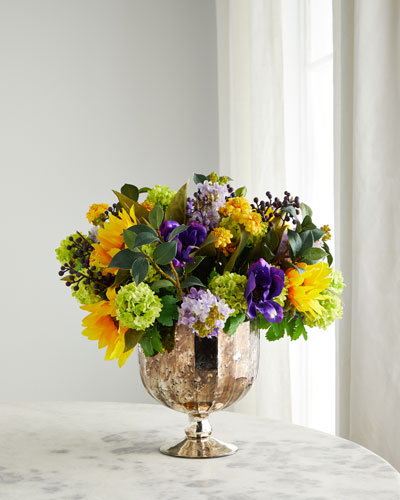 Sunflower Lilac in Glass Urn