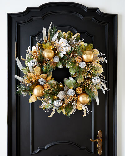 Prelit Silver And Gold Christmas Wreath - 28
