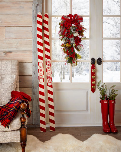 Wooden Ski Wall Decor  Set of Two