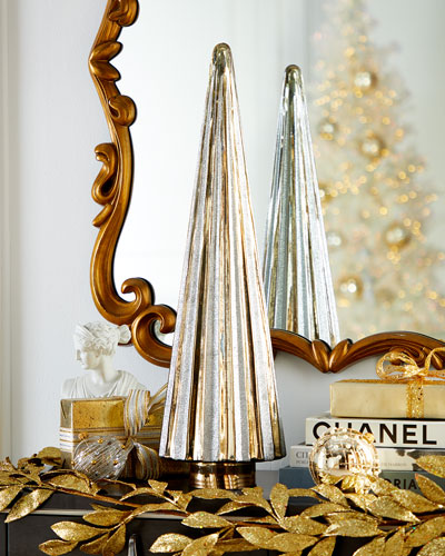 26 Silver/Gold Glittered Glass Tree