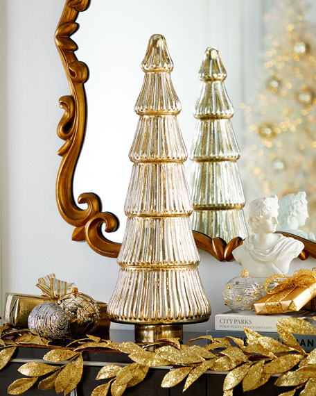 "25"" Silver/Gold Glittered Tree Decoration"