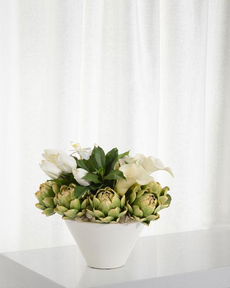 Artichokes and Orchids Floral Arrangement