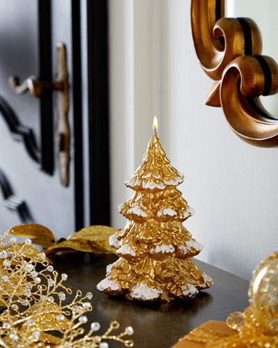 Small Gold Xmas Tree Candle