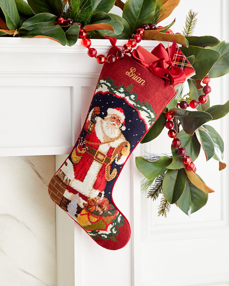 Needlepoint Santa Stocking, Personalized