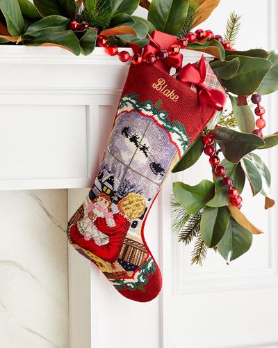 Needlepoint Little Girl Stocking  Personalized