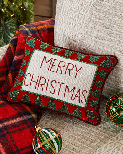 Merry Christmas Pillow with Trees