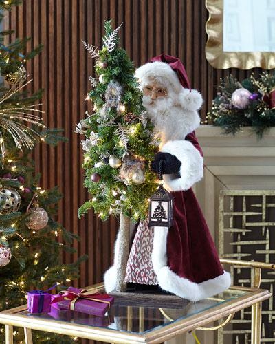 Plum Wine Holiday Santa with Tree  29