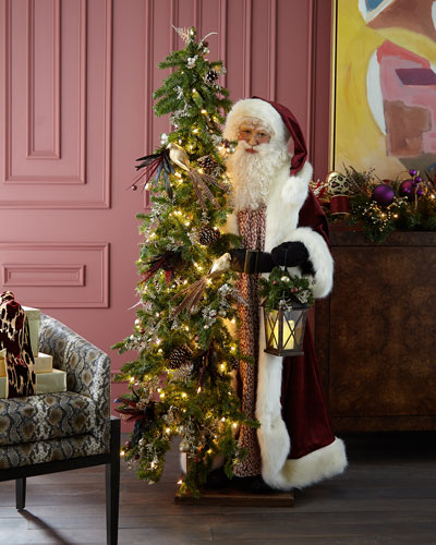 Plum Wine Holiday Santa with Lighted Christmas Tree  57