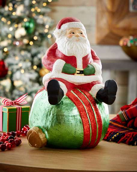 Bethany Lowe Jolly Santa on Ball Decor