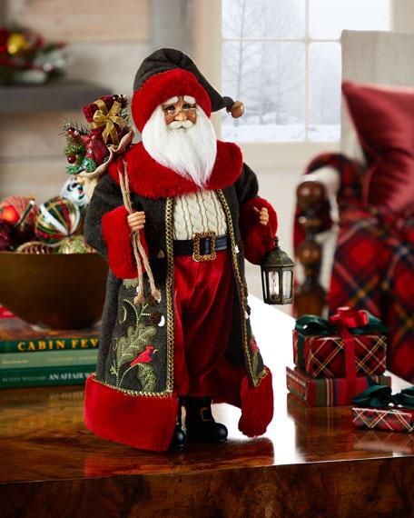 Karen Didion Originals Lighted Cardinal Woodland Santa