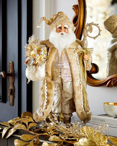 Lighted Ivory Gold Elegance Santa