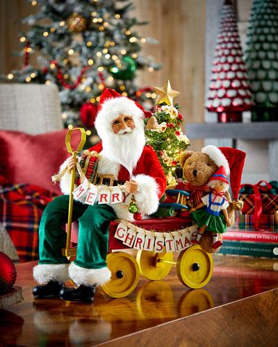 Lighted Merry Christmas Wagon Santa
