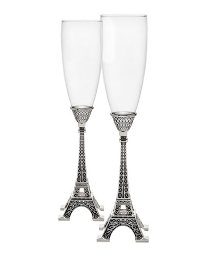 Eiffel Tower Champagne Flute Pair