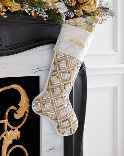 Diamond Pattern Stocking  Personalized