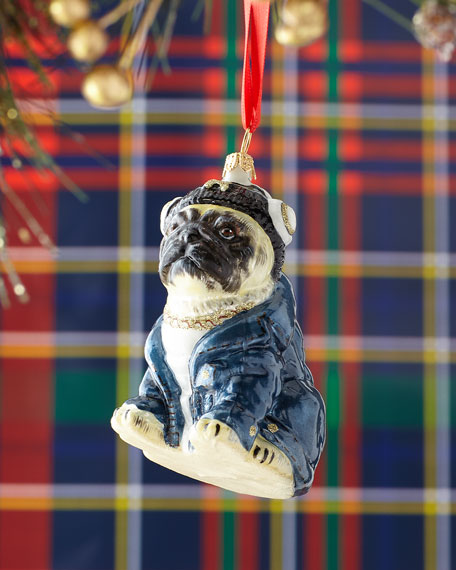 Pug Dog in Headphones & Denim Jacket Christmas Ornament