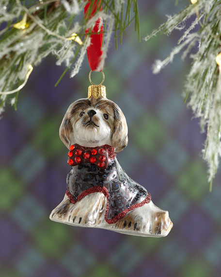 Shih Tzu in Houndstooth Jacket Christmas Ornament