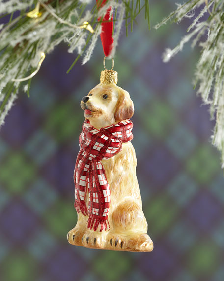 Golden Retriever Dog with Bushy Scarf Christmas Ornament