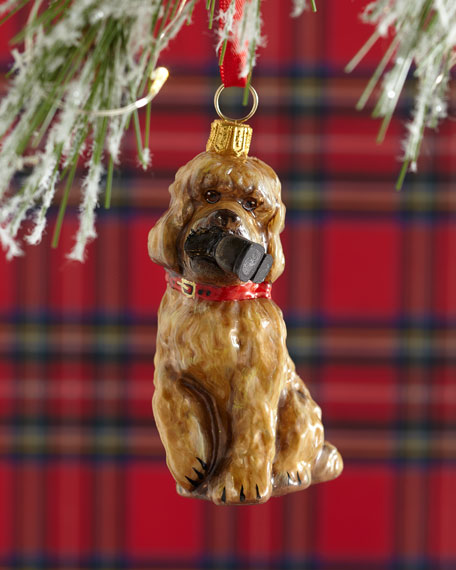 Labradoodle Dog with Hiking Boot Christmas Ornament