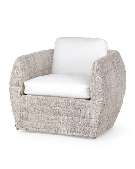 Ventura Swivel Lounge Chair, White Wash