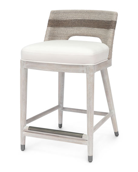 Palecek Fritz Fog White Counter Stool