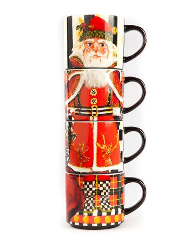 Santa Nutcracker Stacking Mugs  Set of 4