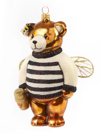 MacKenzie-Childs Glass Ornament Honey Bear