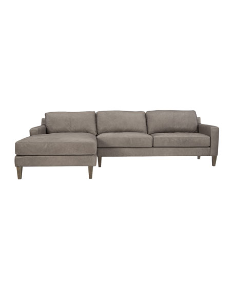 Palmer Leather Left Facing Chaise Sofa