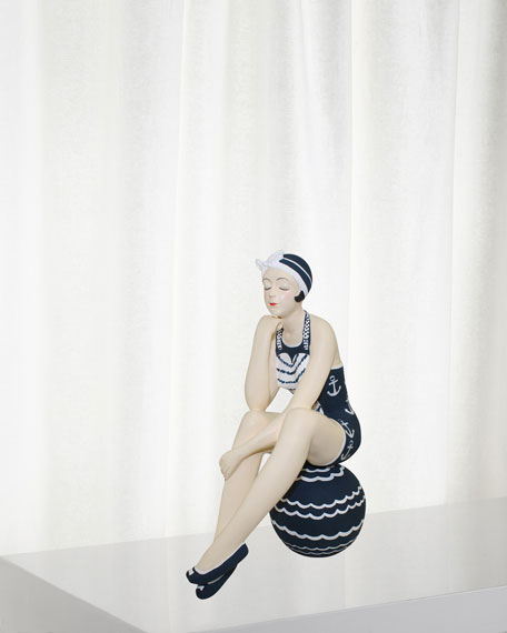 Navy White Bather Figurine - Medium